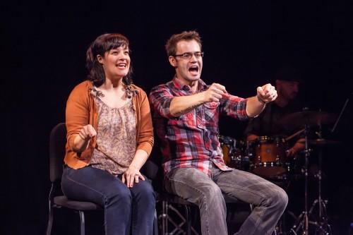 "Rebecca Teran and Morgan Mallory in ""See Jane. See Jane Drive. Drive Jane, Drive""/Photo by David Kinder"