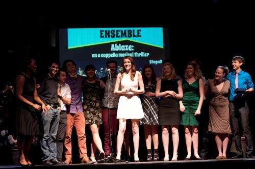 "Cast and crew of ""Ablaze"" celebrate en masse. Win Goodbody | portlandtheatrescene.com"