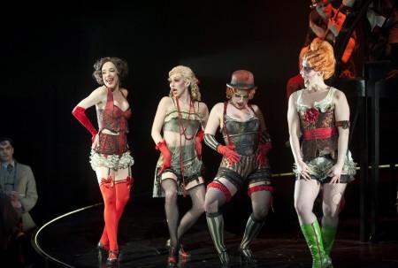 "At the Shaw: Deborah Hay (Sally Bowler), Jacqueline Thair (Lulu), Tess Benger (Texas), Julian Molnar (Rosie) in ""Cabaret."" Background: Gray Powell (Cliff Bradshaw), Julian Molnar (Klown). Photo: Emily Cooper"