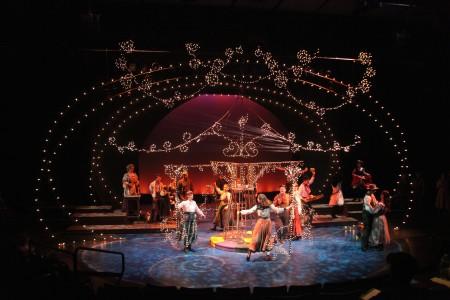 Designer Chris Whitten's carousel lights up the stage. Photo: Meg Williams