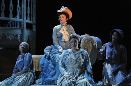 Hannah S. Penn as the secretly mixed-race leading lady Julie, with chorus. Photo: Cory Weaver