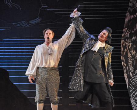 Tom Rakewell (Jonathan Boyd) and Nick Shadow (David Pittsinger) in Portland Opera's The Rake's Progress. Photo: Karen Almond.