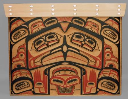 """Eagle & Human Bentwood Chest,"" David Boxley, Tsimshian Nation, 2012, 26.5 x 34 x 18 inches, red cedar, operculum shells, pigment, Portland Art Museum purchase from Quintana Galleries"