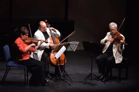 Ida Kavafian, Peter Wiley, and Steven Tenenbom played Bach at Chamber Music Northwest. Photo: Jonathan Lange.