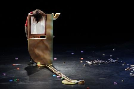 Linda Austin's collaboration with David Eckard, 'Three Trick Pony,' at the TBA Festival, 2013/Photo by Chelsea Petrakis