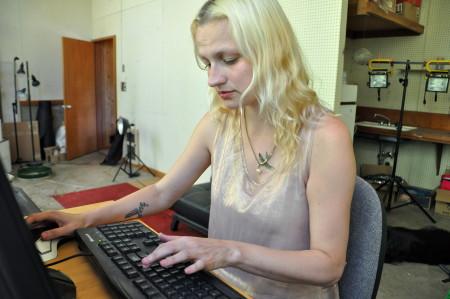 At work in her studio, artist Julia Oldham. Image Sabina Poole.