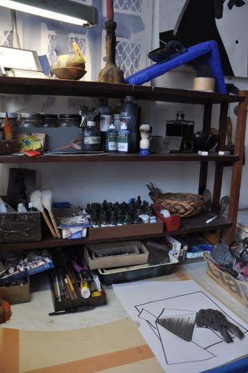 Within her studio, materials of her work.