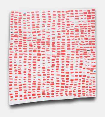 Amanda Wojick, Impatiens, Acrylic, Mulberry Paper, Paper Mache, on Linen, 2014, 23 x 22 inches