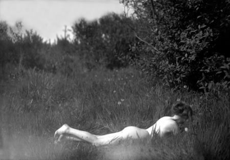 "Imogen Cunningham (American, 1883-1976), Self-portrait, 1906, silver gelatin print, 18 x 14"", collection of the Hallie Ford Museum of Art, Willamette University, Salem"