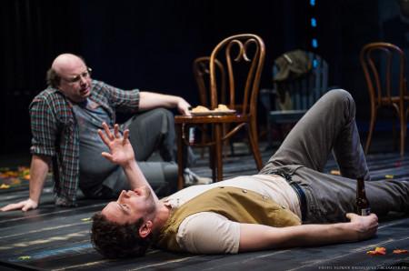"Darius Pierce (left) as Dev and Ian Holcomb as Conrad Arkadina in ""Stupid Fucking Bird"" at Portland Center Stage. Photo: Patrick Weishampel/blankeye.tv."