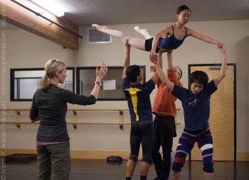 "Suzanne Hagg (l) rehearses Eugene Ballet dancers for 'Look."" Photo: Antonio Anacan."
