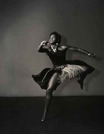"""Pearl Primus Performing her 'African Ceremonial' Dance,"" Gerda Peterich, circa 1945, Gelatin silver print, American, 20 x 16 inches. ""Strike a Pose,"" Jordan Schnitzer Museum of Art"