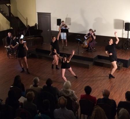 Portland Ballet dancers joined Northwest Piano Trio.