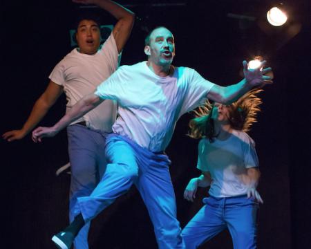 Kimo Camat, Joe Healy, Shawna Nordman, leaping through the stories. Photo: Gary Norman
