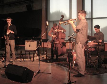 Glausi with bandmates Torrey Newhart, Sean Peterson, Adam Carlson and Josh Hettwer Photo: Gary Ferrington.