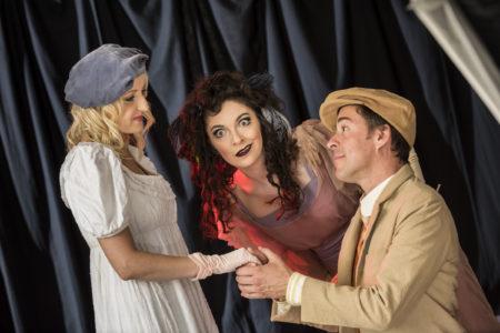 L-R: Kelliann Wright as Rose Maybud, Cassi Q. Kohl as Mad Margaret and Bobby Winstead as Sir Ruthven Ruddigore. Photo: Steve Hambuchen.