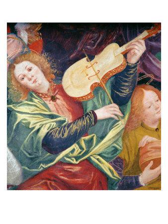 "An angel plays a viola da gamba in ""The Concert of Angels"" by Gaudenzio Ferrari, 1534-1536"
