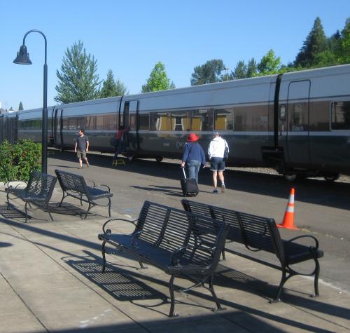 Portland-bound Amtrak Cascades at Eugene Station.