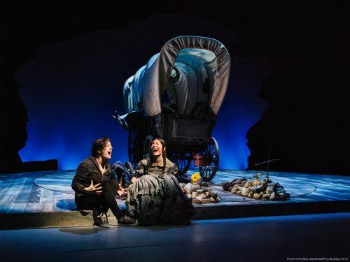"Sarah Baskin as Now Jane and Alex Leigh Ramirez as Then Jane in Bekah Brunstetter's ""The Oregon Trail"" through Nov. 20 at Portland Center Stage. Photo: Patrick Weishampel/blankeye.tv"