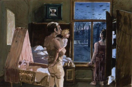 """Henk Pander, """"The First Night,"""" watercolor, 40 x 60 inches, 1995."""