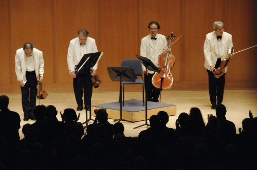 The Emerson Quartet takes a bow last week at Chamber Music Northwest. From left: Eugene Drucker, Philip Setzer, David Finckel, Lawrence Dutton. Photo: Jim Leisy