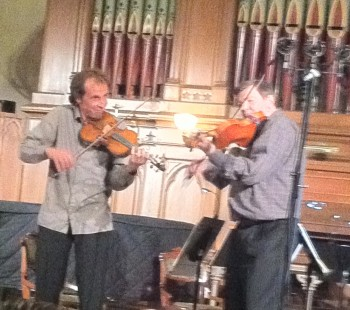 Fab fiddlers Gilles Apap and Kevin Burke jammed with 45th Parallel.