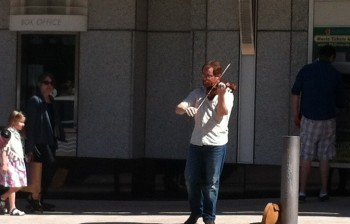 Greg Ewer busked in downtown Portland.