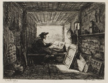 "Charles-Francois Daubigny, ""Le Bateau-Atelier"" (""The Studio Boat""), 1861, etching. The Vivian and Gordon Gilkey Graphic Arts Collection."