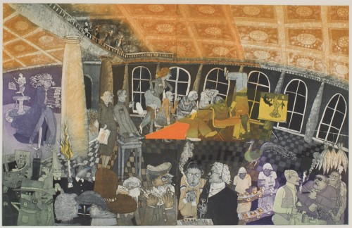 "Warrington Colescott, ""Judgment Day at NEA,"" 1991, soft-ground etching, etching, aquatint and marbling, a la poupee inking and relief rolls through stencils; edition 13/20. Gift of the artists to Portland Art Museum."