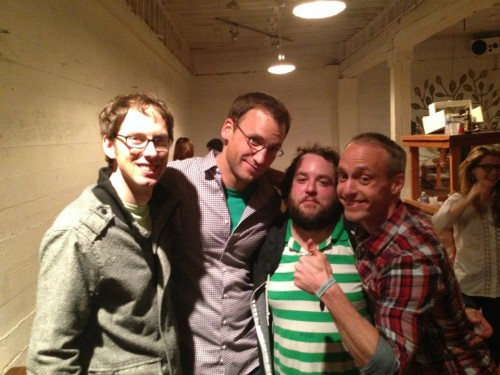 Andy Wood (second from left) in his comedy element, with Dax Jordan (L) and Richard Bain and Lance Banks.