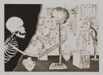 "Frank Boyden, ""Uncle Skulky is overcome as he leers at an exquisite exhibition of an old friend,"" color drypoint and spitbite with graphite, pencil, and watercolor; artist's proof aside from the edition of 14; gift of the artist to the Portland Art Museum in honor of Jean Vollum."