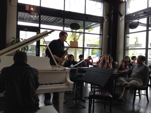 Mitchell Falconer and Patrick McCully perform at Classical Revolution PDX's chamber jam at Elevated Coffee.