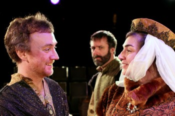 Matt Smith (Polixines), Grant Turner (Leontes), and Anne Sorce (Hermione) In Northwest Classical Theatre Company's production of