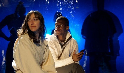 """Julie Hammond and Damian Thompson in """"The Left Hand of Darkness""""/Portland Playhouse and Hand2Mouth Theatre"""