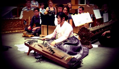 Seola Kim performs her work for table harp and gamelan orchestra. Photo by OBF Composers Symposium.