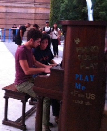 """Pianists Mitchell Falconer and Maria Choban will play Bill Alves's """"The Black Toccata"""" at Timeshare Gallery Tuesday, as they did earlier this month at the Portland Art Museum Plaza on a piano provided by PushPianoPlay!"""