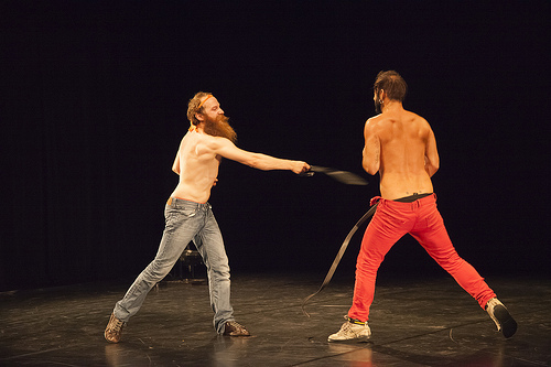 """Pieter Ampe and Guilherme Garrido, """"Still Standing You""""/Photo by Gia Goodrich courtesy of PICA"""