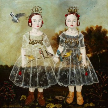 """Anne Siems, """"Bells and Birds,"""" 2013, acrylic on wood panel, 30 x 30 inches. Laura Russo Gallery"""