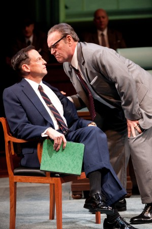 "Lyndon Johnson (Jack Willis) makes his point with Hubert Humphrey (Peter Frechette)  in OSF's ""All the Way""?Photo Jenny Graham"