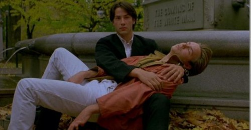 """Keanu Reaves and River Phoenix in """"My Own Private Idaho."""""""