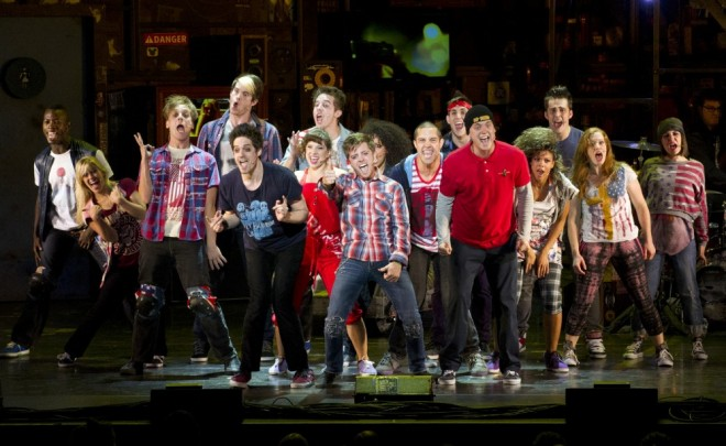 """Roughly the cast ArtsWatch saw in """"American Idiot""""...with a bunch of substitutions. Photo by  Litwin."""