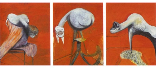 """Francis Bacon, """"Three Studies for Figures at the Base of a Crucifixion,"""" 1944/Tate Museum"""