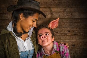 Maya Caulfield as Fern, Elisha Henig as young Wilbur. Photo: Owen Carey