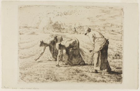 """Jean-François Millet, """"Les Glaneuses (The Gleaners),"""" etching, 1855. The Vivian and Gordon Gilkey Graphic Arts Collection, Portland Art Museum."""