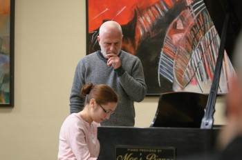 Feltsman coaches Natalie Burton at Portland Piano International master class. Photo: Andie Petkus.