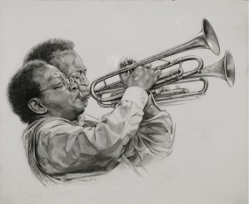 Diane Russell's portraits of Portland Jazz Festival stars like Thara Memory are on display.