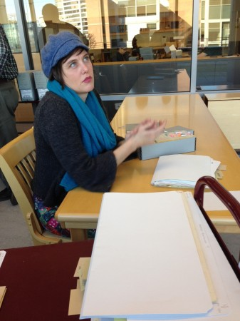 """Kaia Sand works on the """"Watcher Files Project""""/Judith Pulman"""