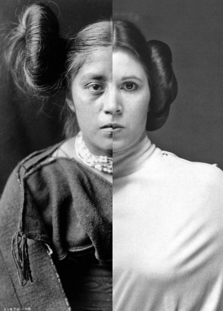 """Nicholas Galanin's """"Things are Looking Native, Native's Look Whiter,"""" combines an Edward S. Curtis image and a photo of Princess Leia."""