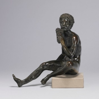 "Andrea Briosco, called Riccio, ""Seated Shepherd, with Syrinx (Daphnis?),"" c. 1520, bronze, 8.4 inches tall, The Walters Art Museum, Baltimore"