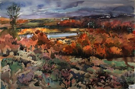 """Henk Pander watercolors and Mel Katz wall works are at Laura Russo Gallery this month. This is Pander's """"Lily Lake, Steens Mountain"""""""